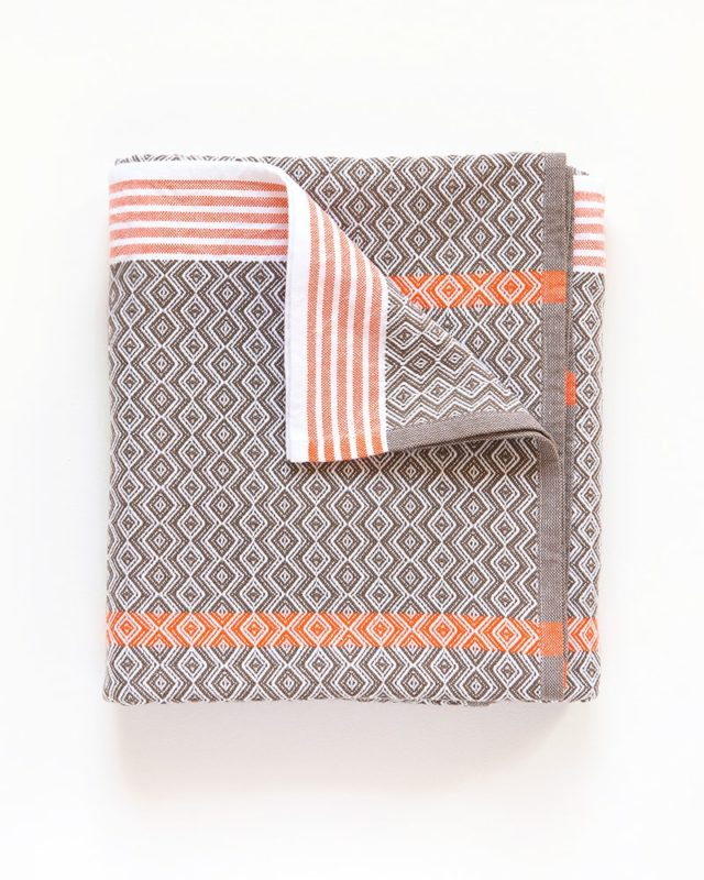 Mungo Itawuli Bath sheet in Brown Granite with an orange stripe