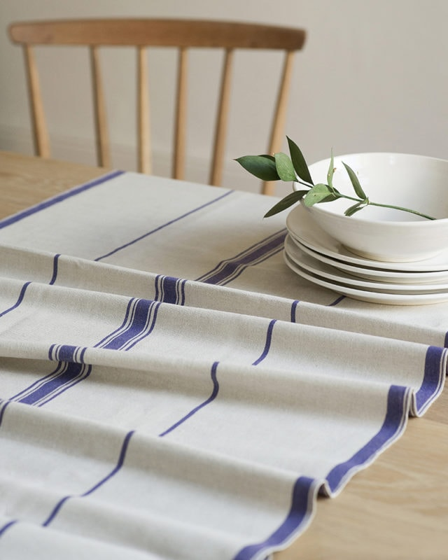 Mungo Table Linen Lisburn Table Runner in all blue, get it online at mungo.co.za