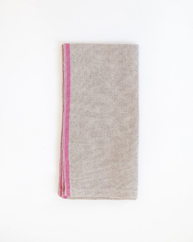 Pure linen Selvedge Serviettes with a Pink stripe detail, woven at the Mungo weaving Mill