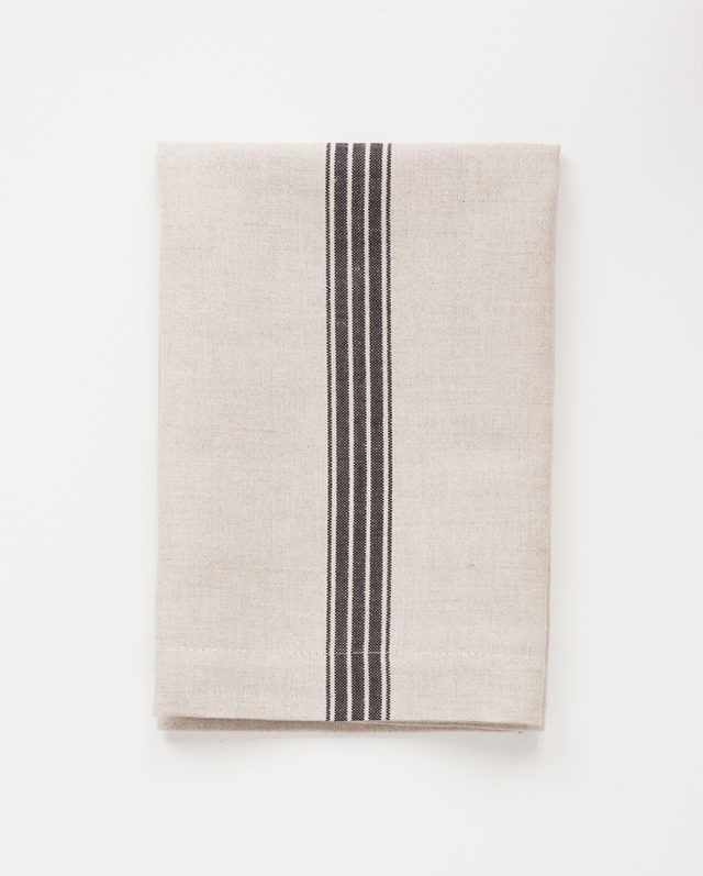 Mungo provincial stripe serviette with a french navy stripe on natural, woven with cotton and linen yarn