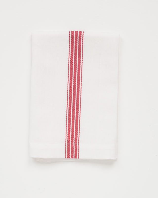 Mungo provincial stripe serviettes, woven with cotton and linen with a red stripe inspired by antique french grain sacking material