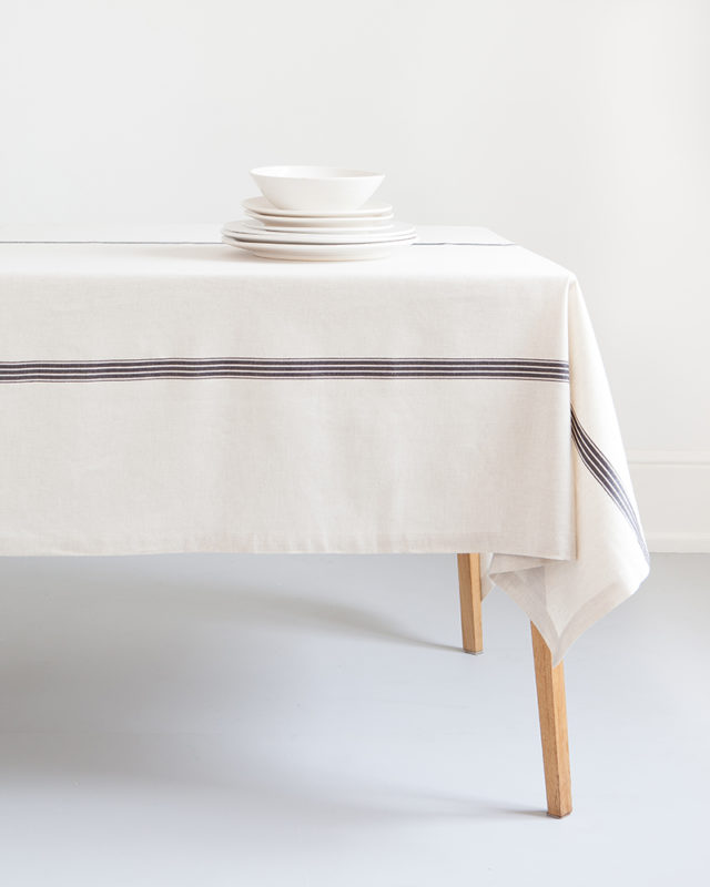 Mungo linen & cotton Provincial Stripe Tablecloth. Woven in South Africa at the Mungo Mill