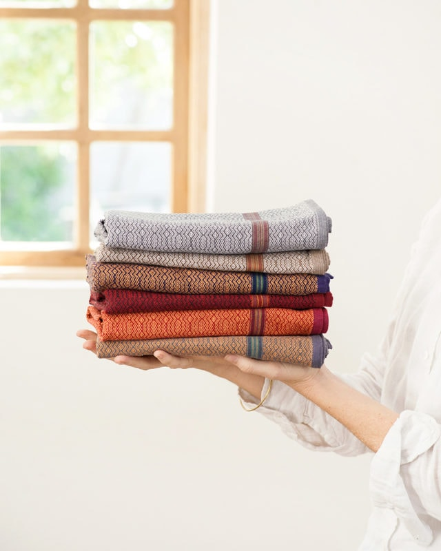 Mungo Boma Cloth stack. Pure cotton kitchen linen, ethically woven in South Africa