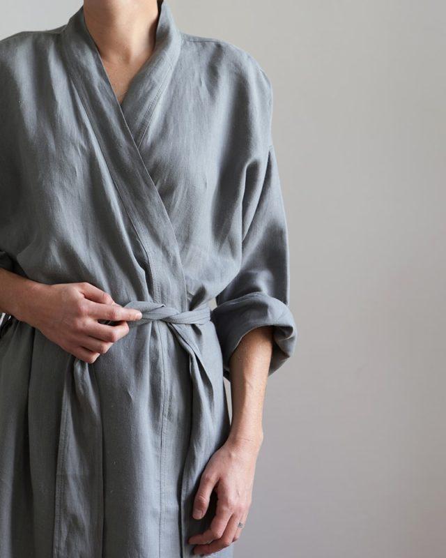 Mungo metal grey linen gown being worn by model