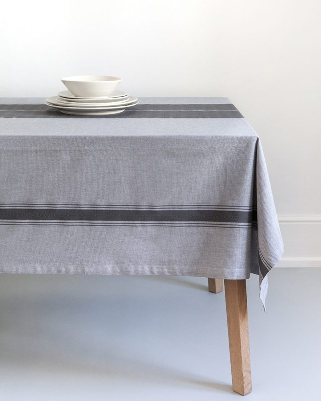 Mungo Ottertrail hut tablecloth showing African detail weave and size on table