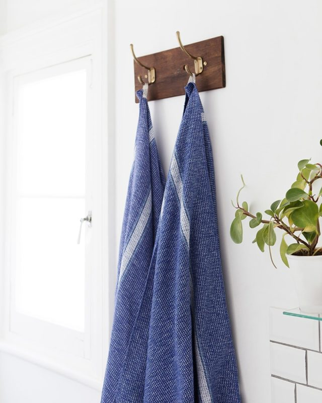 Cobalt Summer Towel woven on the antique Lancashire Looms at the Mungo Mill in Plettenberg Bay