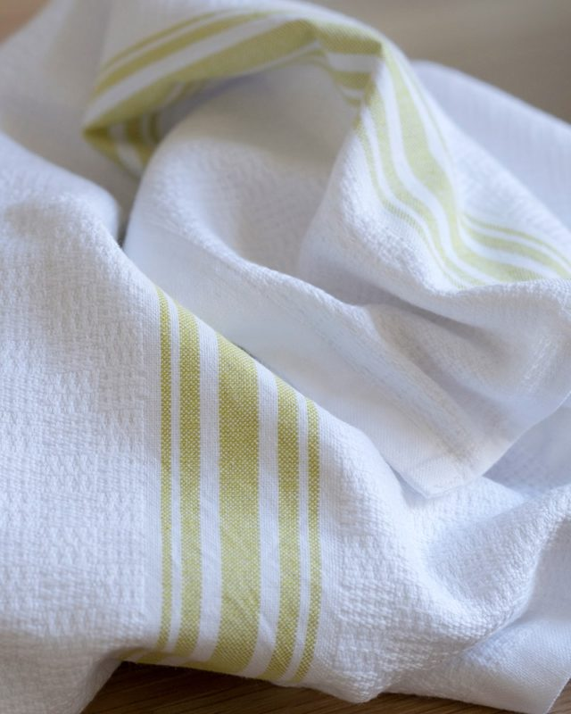 The Mungo Willow Weave towel seen here in the new citronelle colourway
