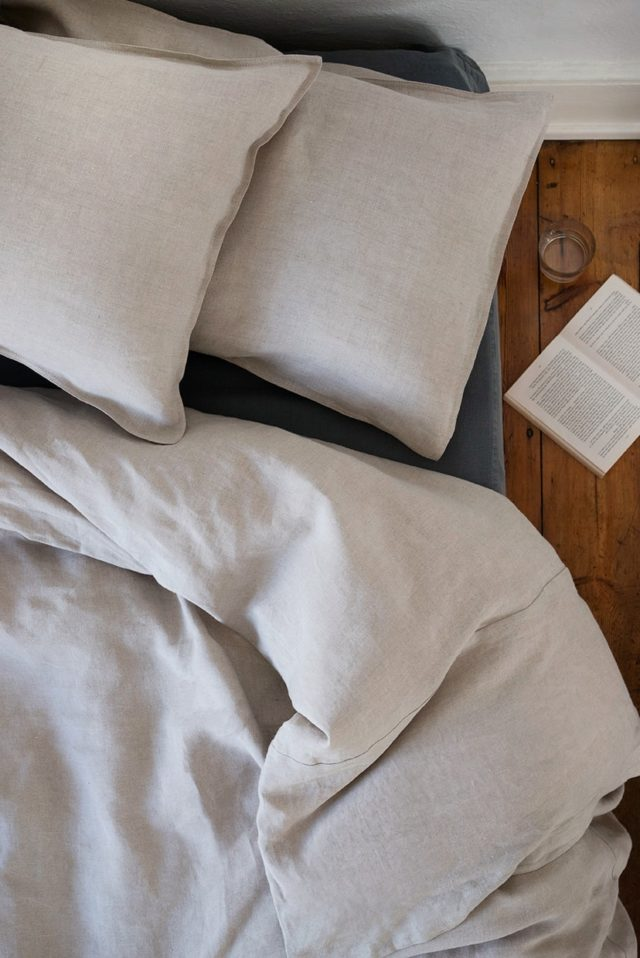 The natural flax colourway of the Mungo Kamma linen. Our luxury 100% linen bedding woven at our mill in Plettenberg Bay.