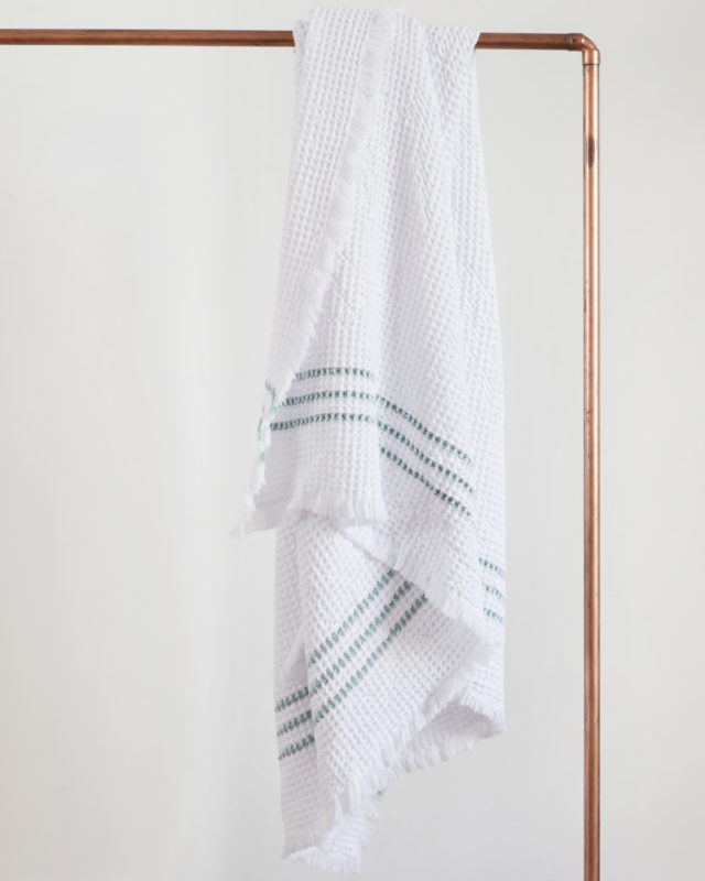 The Mungo Belgian Waffle Towel in duck egg woven at our transparent mill in Plettenberg Bay