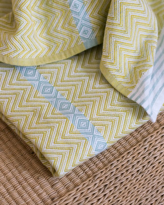Mungo Tawulo - a vibrant and versatile flat weave towel woven from pure cotton towel at the public Mungo Mill