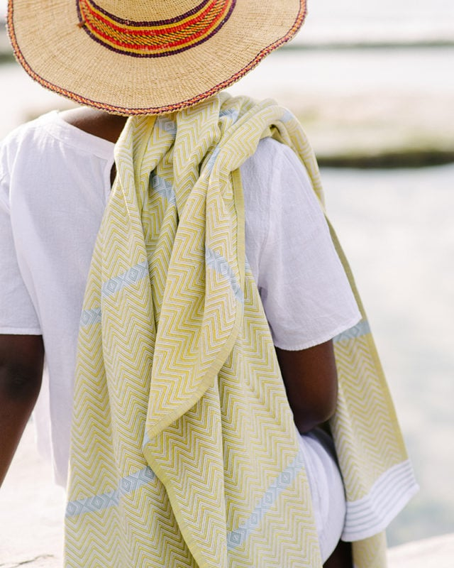 Mungo Tawulo - a vibrant and versatile flat weave towel woven from pure cotton at the public Mungo Mill