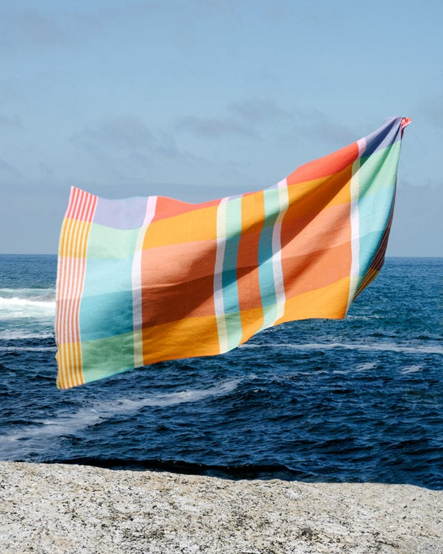 Mungo Folly Beach Towel in Fiddler Crab, a textile woven in Plettenberg Bay, South Africa