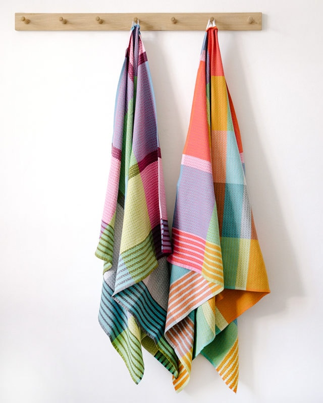 Mungo Folly Beach towels hanging up, woven at our mill in Plettenberg Bay, South Africa