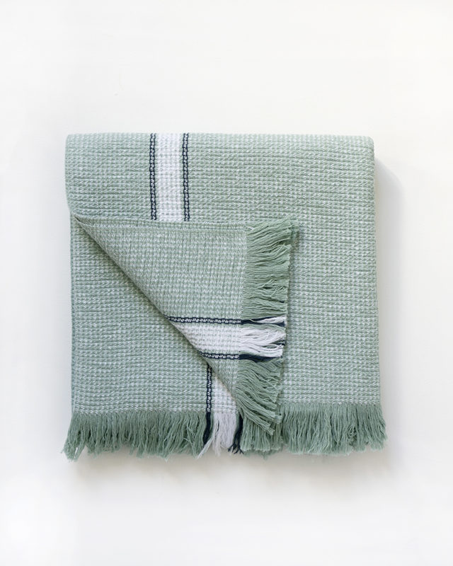 Mungo Summer Towel in Mint coourway. A pure cotton bath, pool or beach towel designed, woven and made at the Mungo Mill in South Africa